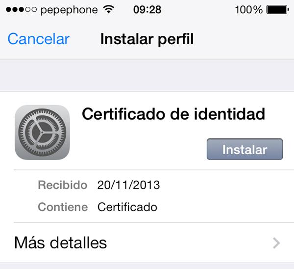 Instalar Certificado Identidad iPhone iPad