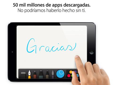 50 mil millones de apps descargadas