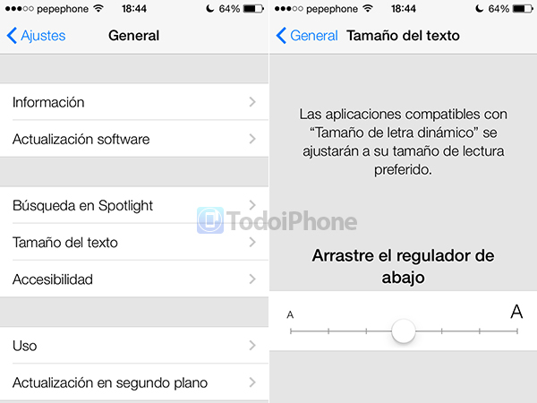 Tamaño del Texto iOS 7