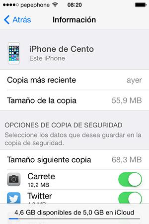 Informacion iCloud iOS 7