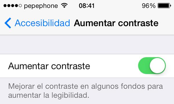 Aumentar Contraste - iOS 7