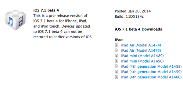 iOS 7.1 Beta 4 iPhone iPad
