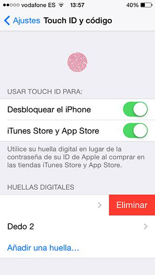 Eliminar Huellas - Touch ID