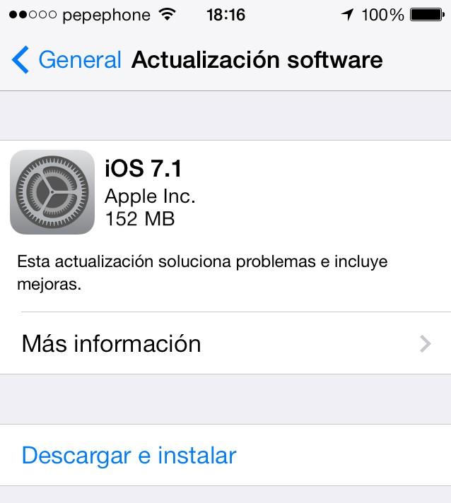 iOS 7.1 iPhone - Actualizacion